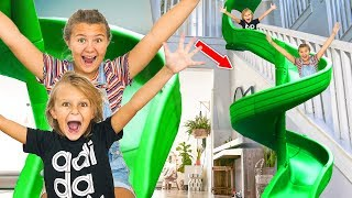 We transformed our stairs into a GIANT high speed slide inside our ...