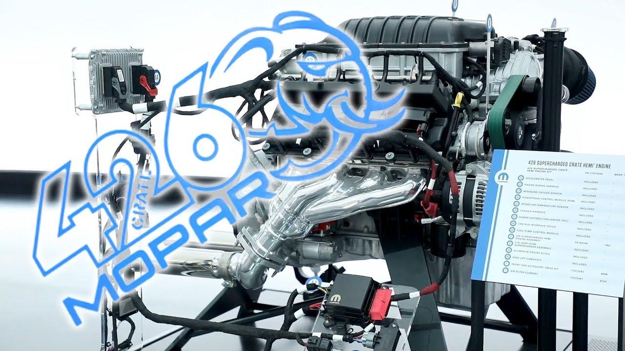 hellephant 426 supercharged mopar crate hemi engine 2018 sema show [ 1280 x 720 Pixel ]