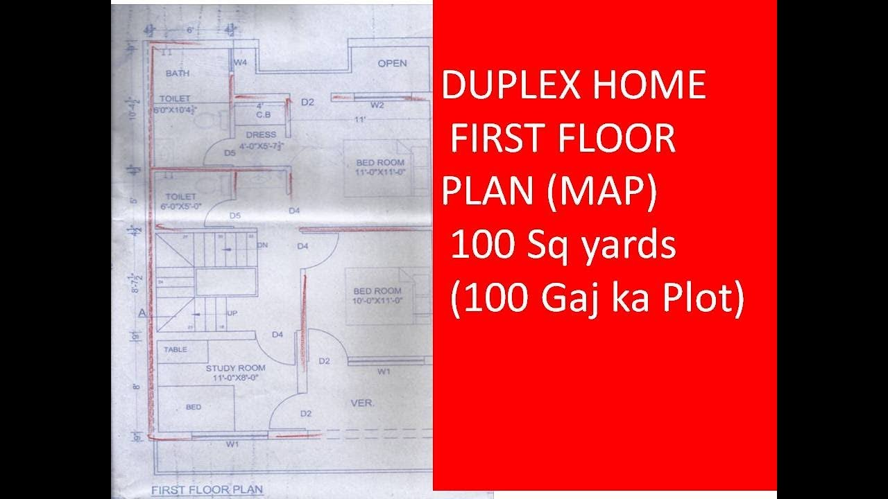 Duplex home first floor plan map 100 sq yards 100 gaj for Home design in 100 gaj