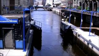 ハンブルグの運河の閘門