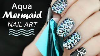 AQUA MERMAID NAILS | Metallic Foil Scales + Silver Jewels