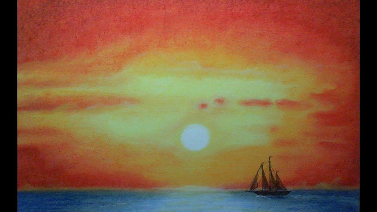 Dibujo. Atardecer En El Mar