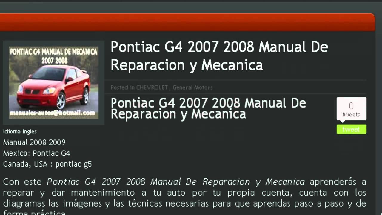 Manual De Mecanica Reparacion Y Taller Pontiac G4 G5 2007 2008 Youtube