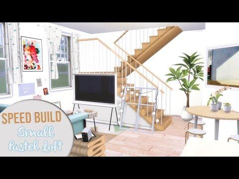 The Sims 4 Speed Build   SMALL PASTEL LOFT + CC Links thumbnail