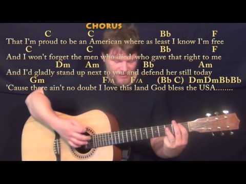 God Bless the USA - Strum Guitar Cover Lesson with Chords/Lyrics