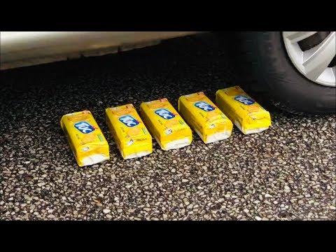 Crushing Crunchy & Soft Things by car! - EXPERIMENT:PRINGLES VS CAR