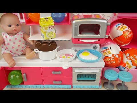 Baby Doli Kitchen and food toys surprise eggs Kinder joy baby doll play