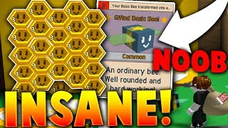 NOOB PLAYER GIVEN ONLY GIFTED BASIC BEES! (*INSANE!*) - Roblox Bee Swarm Simulator