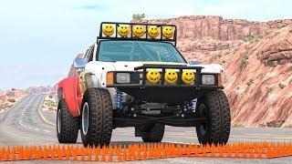 Massive Spike Strip Pileup Crashes #16 – BeamNG Drive | CrashBoomPunk