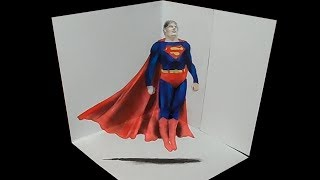 Flying the Superman - Drawing 3D Heroes - Trick Art by Vamos