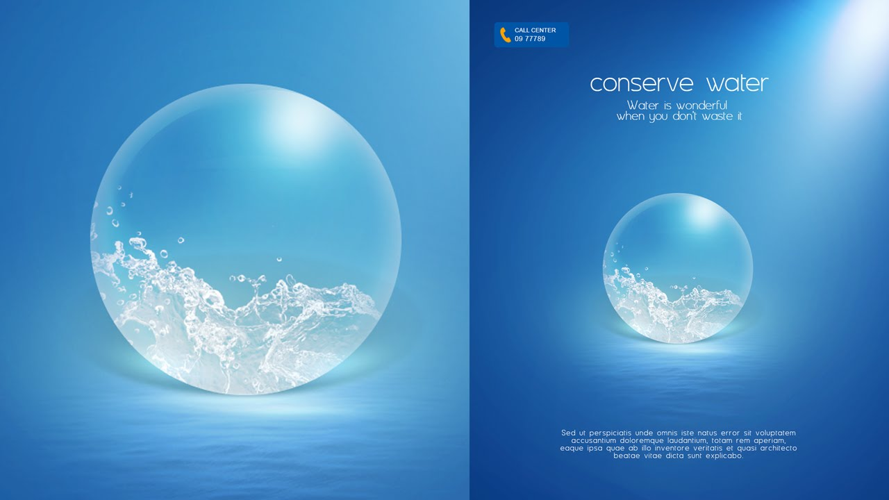 Photoshop Tutorial Poster Conserve Water - YouTube