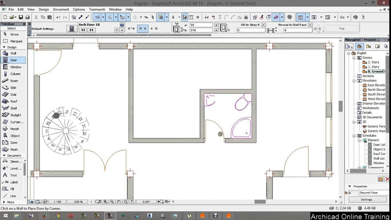Archicad 18 tutorial from A to Z part 9 placing objects