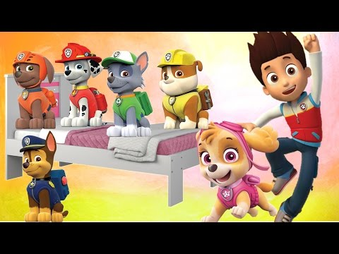 Five Little Paw Patrol Jumping on the Bed | 5 Little Monkeys Jumping on the bed Nursery Rhymes