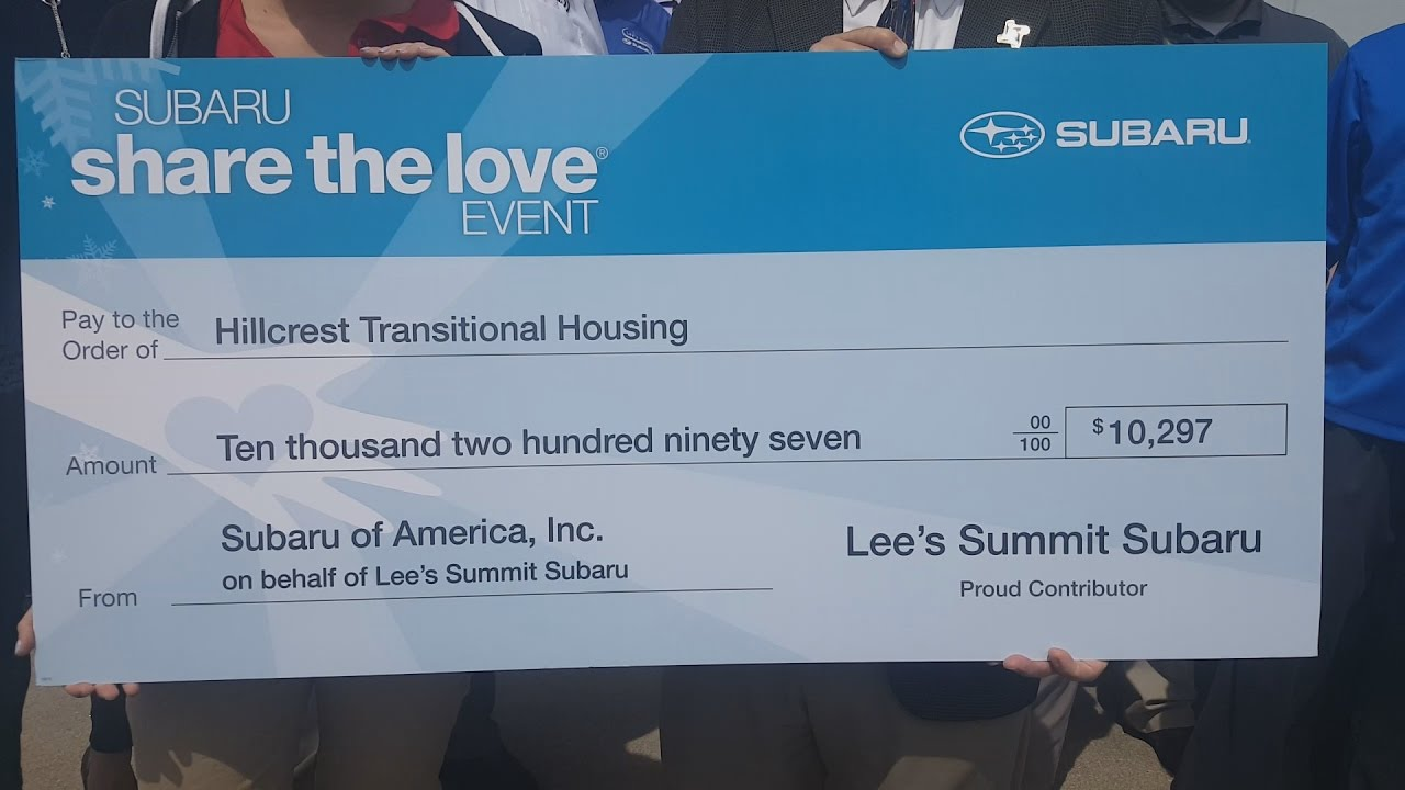 Lee'S Summit Subaru >> Lee S Summit Subaru Presenting Hillcrest Transitional Housing Check