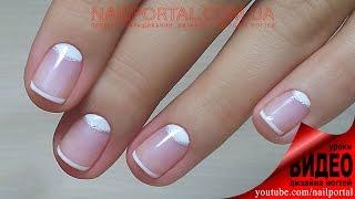 Дизайн ногтей гель-лак shellac - Лунный маникюр + френч + декор (видео уроки дизайна ногтей)