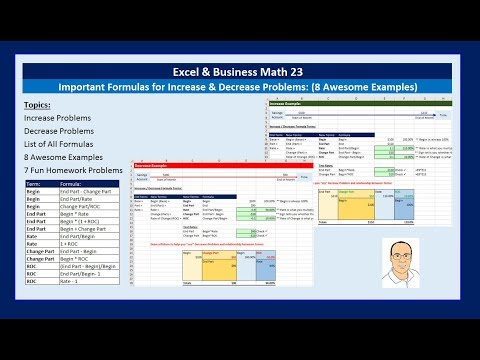 Excel & Business Math 23: Important Formulas for Increase Decrease Problems (8 Awesome Examples)
