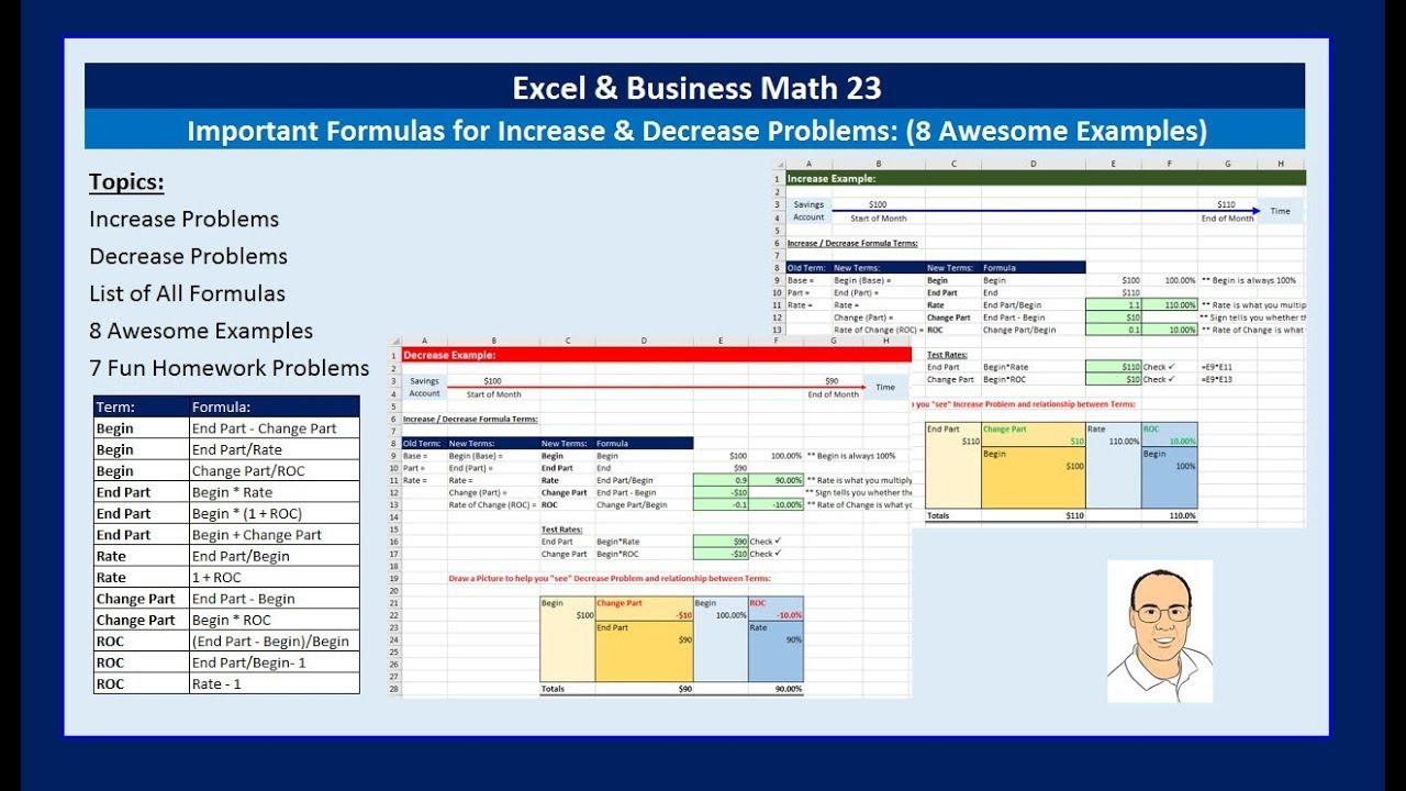 Excel & Business Math 23: Important Formulas for Increase Decrease ...
