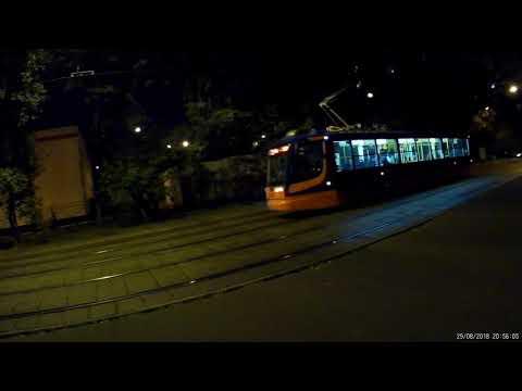 Трамваи на Халтуринской улице вечером