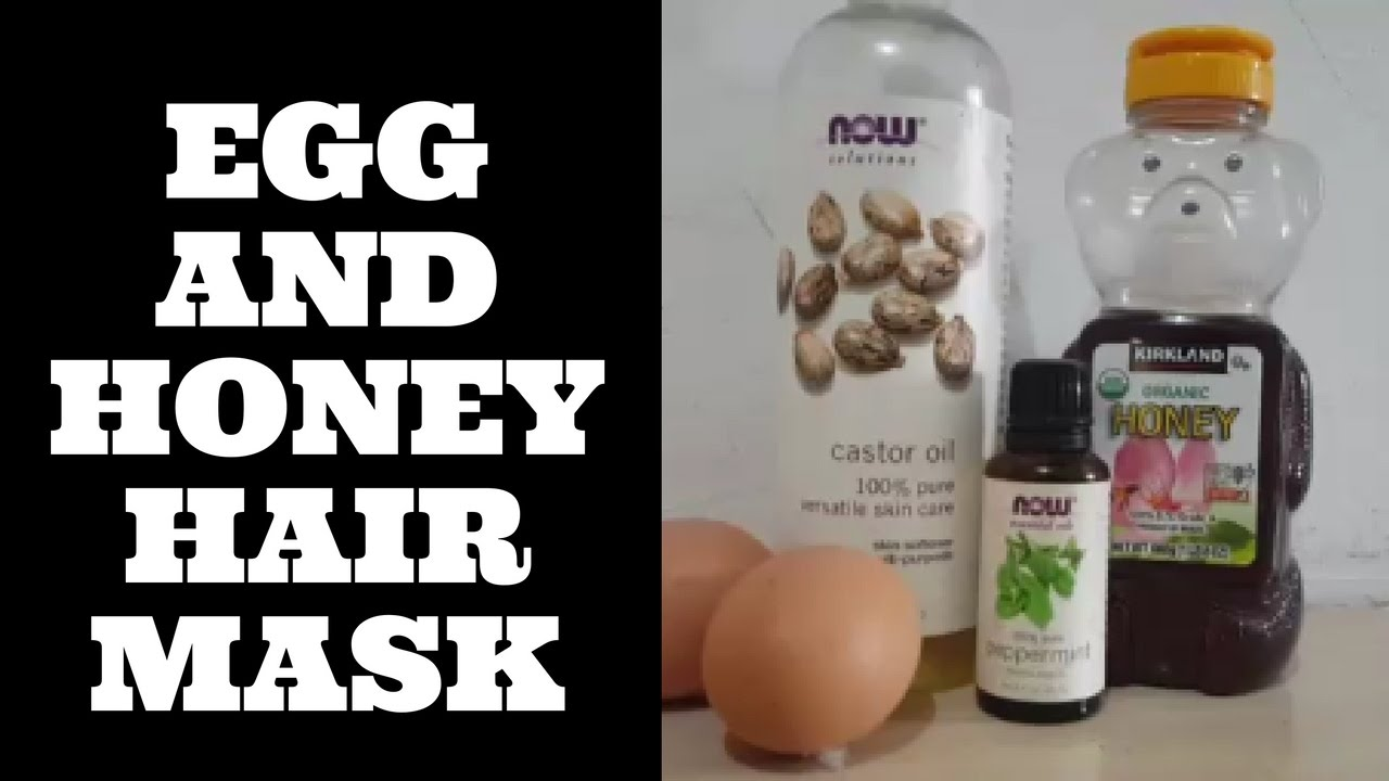 Egg And Honey Hair Mask With Castor Oil And Peppermint Oil Youtube