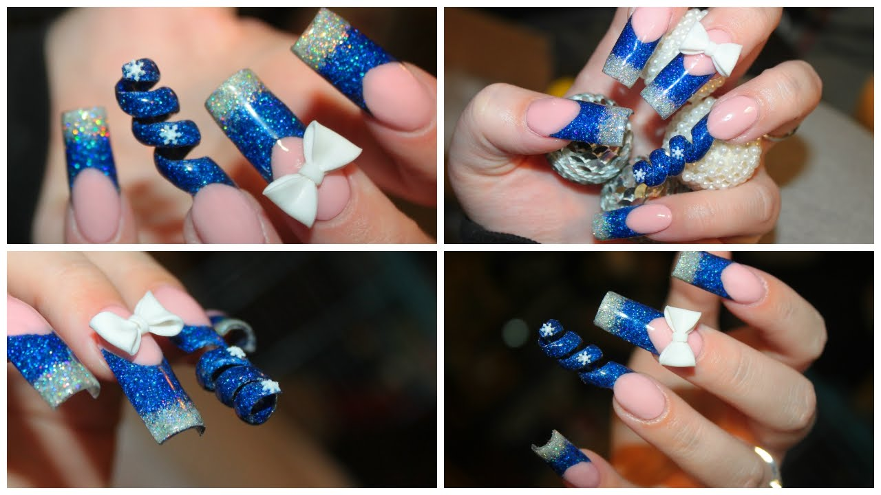 How To: Snowflake Spiral Acrylic Nails - YouTube
