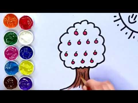 Dibujar Y Pintar Un Arbol Con Manzanas Dibujos Para Niños Amiguitos123