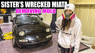 Rebuilding my little sister's Miata pt. 1 - REMOVING MOLD/Super Cleaning the Interior!