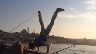 Galata köprüsünde tek el durup amuda kalktım || GOPRO HERO 4