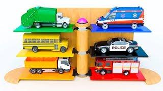 Fun Kids Videos - Toy Vehicles Parking | Police Car School Bus Garbage Truck