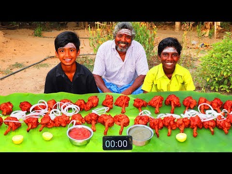 40 CHICKEN LOLLIPOP EATING CHALLENGE | SPICY CHICKEN LOLLIPOP | FOOD CHALLENGE | FARMER COOKING