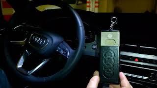 Работа противоугонного чехла-пенала внутри  салона Audi