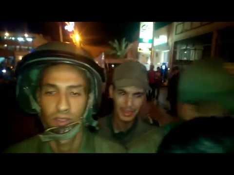 لحظة التدخل على اعضاء التنسيق الميداني للمعطلين الصحراويين بكليميم