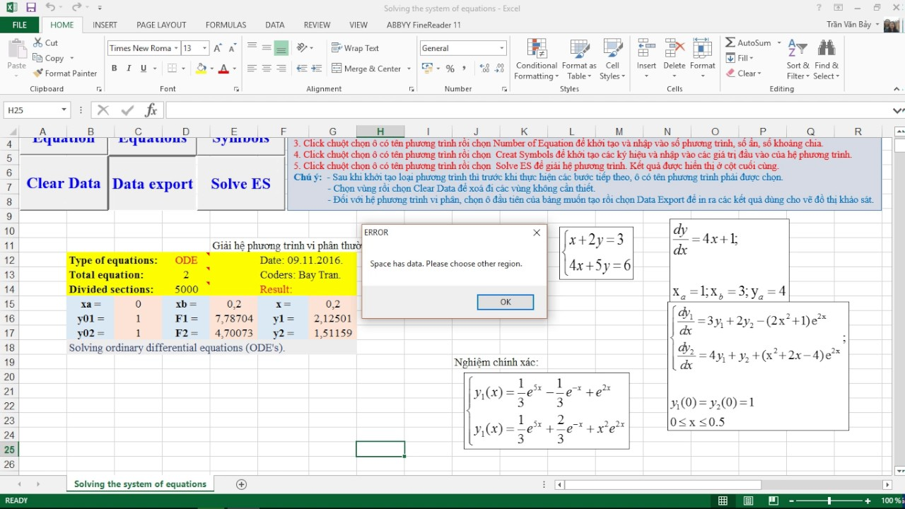 Solving the system of equations using VBA in Microsoft Excel