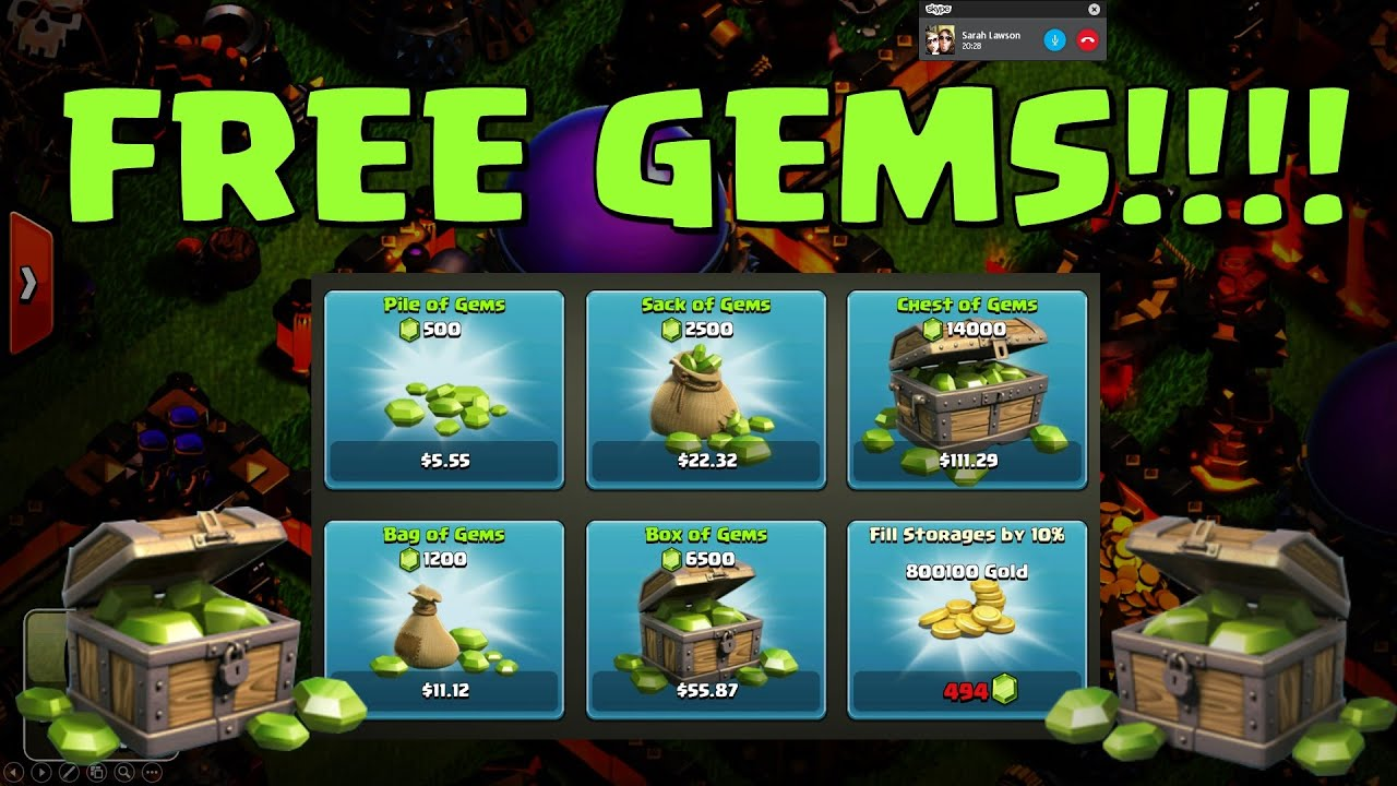 Clash of Clans - Unlimited Free Gems!! Free Gift cards!! - YouTube