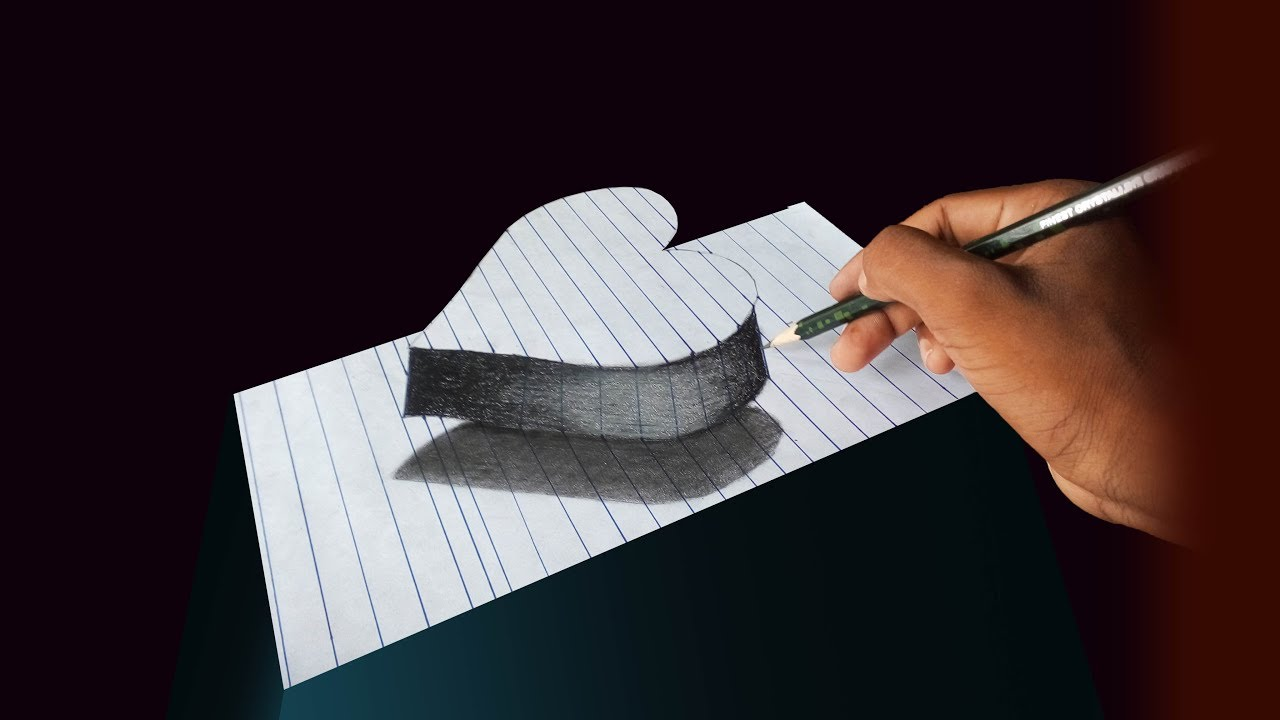 How to draw a 3D heart painting on ART paper, Shadow with pencil!!! Awesome  sketch