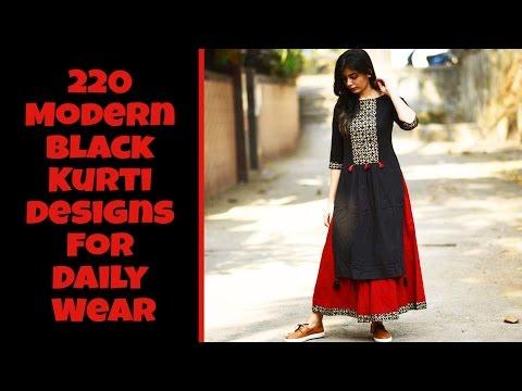 220 Modern Black Kurti Designs For Daily Wear