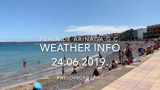 4K Gran Canaria Playa de Arinaga Beach Holiday Weather June Temperature 24.06.2019. Daily New
