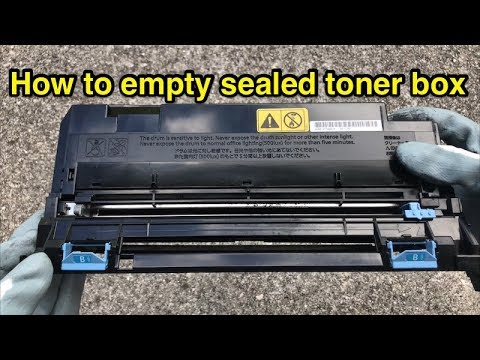 How to empty sealed Kyocera waste toner container box - Error C7990.