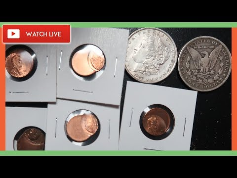 SILVER MORGAN DOLLAR AND ERROR PENNIES WORTH MONEY - COIN ROLL HUNTING LIVE!!