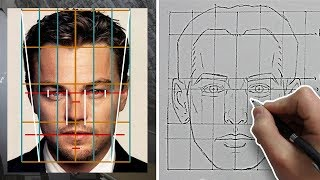 How to Draw FACES with ACCURATE PROPORTIONS & FEATURES (Front View) - Tutorial