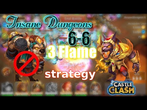 Castle Clash Insane Dungeon 6-6 3flame Strategy_ Without MINO