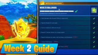 Fortnite WEEK 2 CHALLENGES GUIDE! - Treasure Map, Secret Battle Star, Basketball Hoop LOCATIONS!