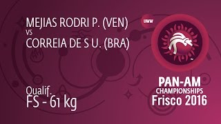 Qual. FS - 61 kg: P. MEJIAS RODRI (VEN) df. U. CORREIA DE S (BRA) by TF, 21-1
