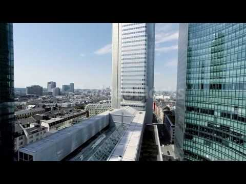 skyline frankfurt am main bank financial district helicopter fly over city h4n0wnc