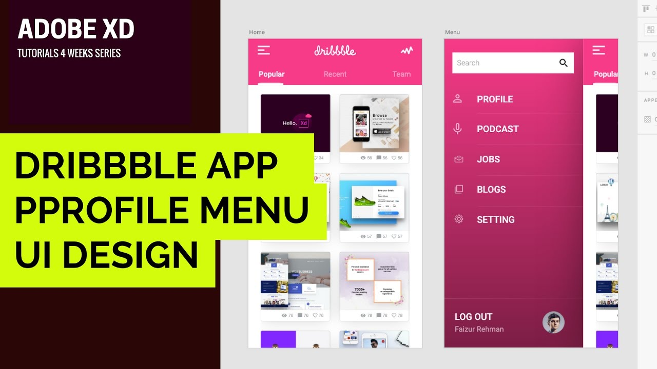 Adobe XD Tutorial 004 | How to Make Dribbble App Menu UX/UI Design in Adobe  XD