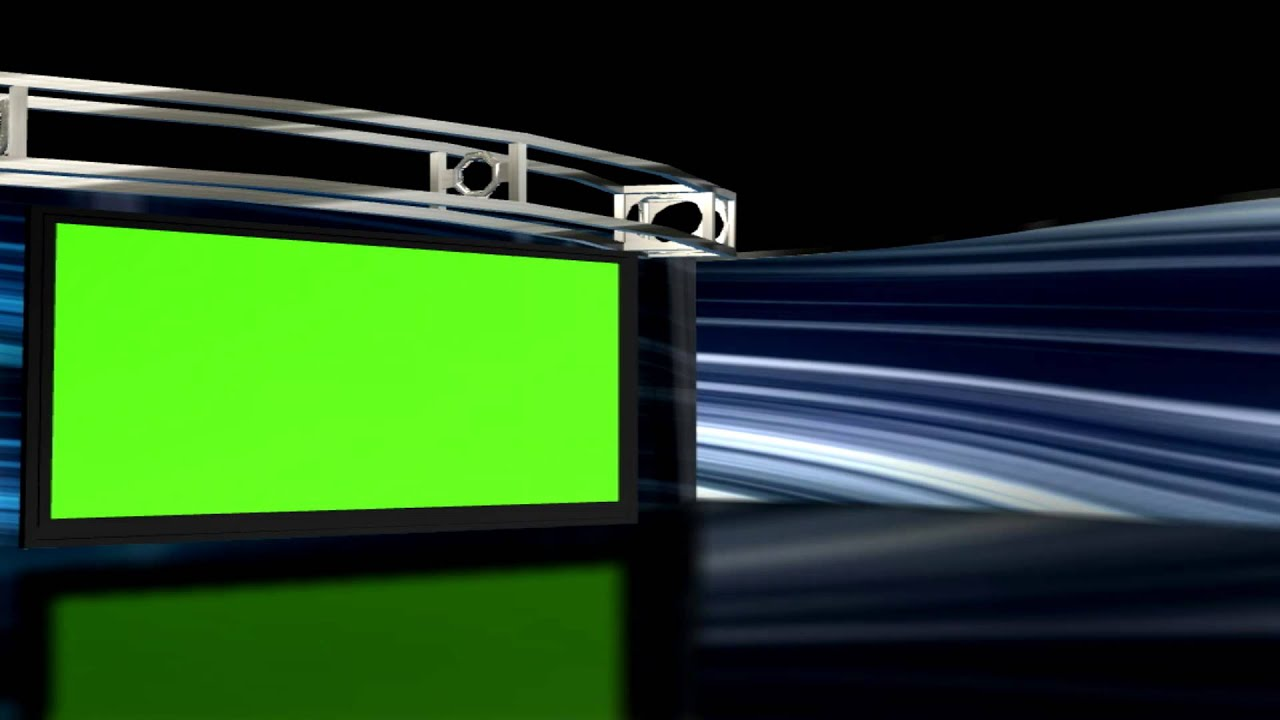 free hd virtual studio set background 1 with green screen tv set