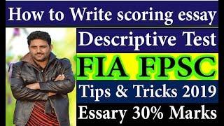 How to Write scoring essay in Descriptive Test FIA FPSC? | Online Soft Teach