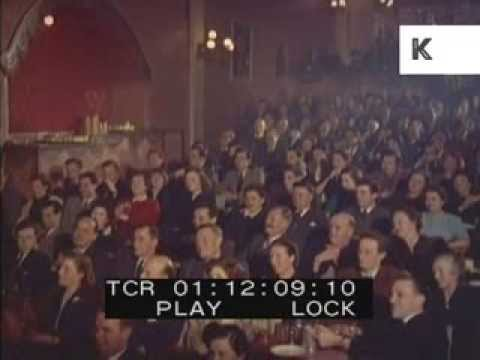 1940s 1950s UK Theatre, Music Hall Audience, Colour Footage