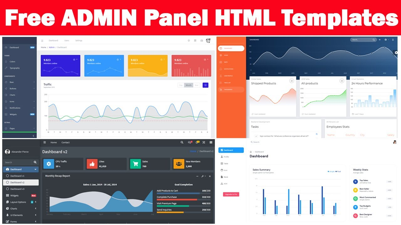 Top 4 Websites to Download Free ADMIN Panel HTML Template