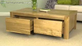 Pablo Solid Oak 2 Drawer Coffee Table From Oak Furniture Land